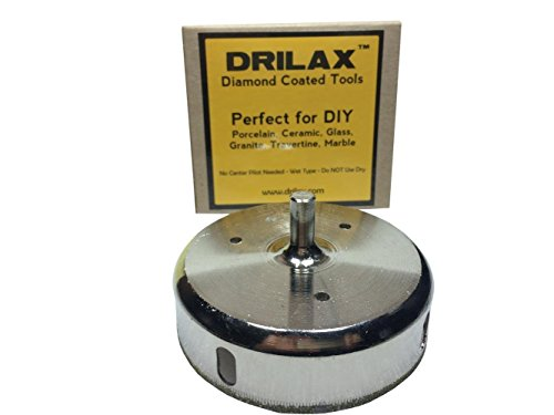 Drilax 3-1/2 Inch Diamond Hole Saw Glass Drill Bit - 1 3 4 Porcelain Tile Hole Saw