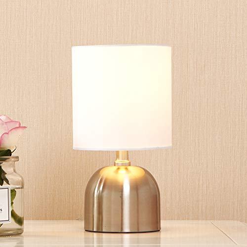 POPILION Modern Brushed Nickel Finish Metal Small Mini Bedside Table Lamp, Desk Lamp with White Fabric Shade