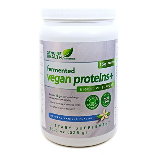 Price comparison product image Genuine Health Fermented Vegan Proteins+,  Natural Vanilla Flavor,  18.5 oz (525 g)