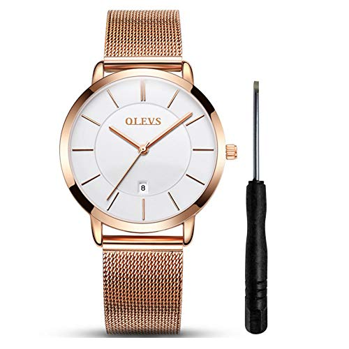 Thin Watches for Women Waterproof Women's Analog Quartz Wristwatches Rose Gold Watch with Stainless Steel Mesh Strap Ladies Watch with Date Simple and Elegant Clock OLEVS