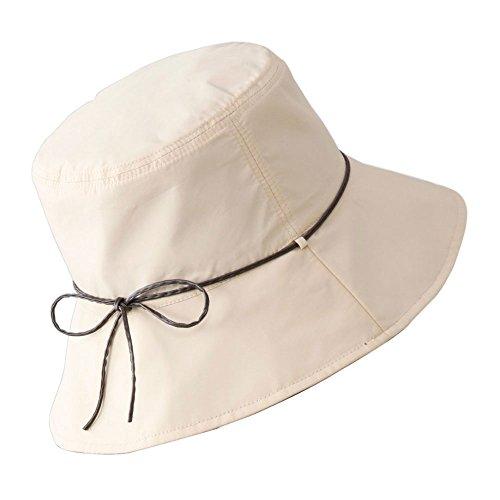 コモライフ Reversible Sun Protection Hat for Women with a Pouch - Waterproof Hat with UV Protection, Black & White, Color : Beige, Head : 22 Inch