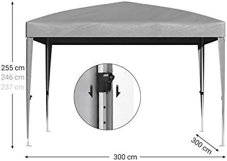 Portatile per Esterni Tenda da Giardino Bianco GCT10WT Anti UV con Borsa per Trasporto Resistente all/'Acqua SONGMICS Gazebo di 3 x 3 m Giardino Patio Festa Eventi Commerciali