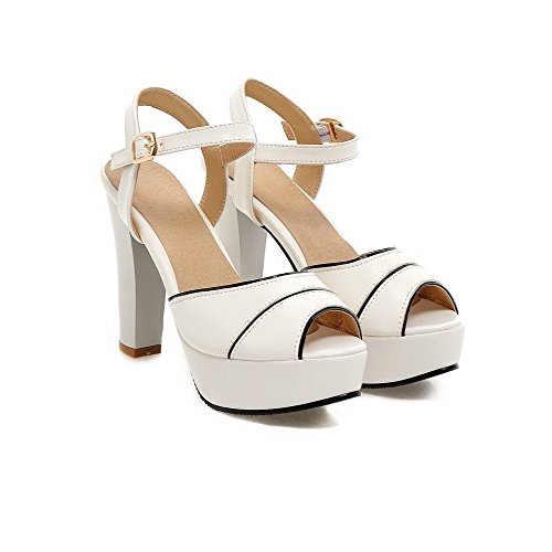 AllhqFashion Womens Buckle Peep Toe High Heels Blend Materials Assorted Color Sandals White 7PcDAWDPq