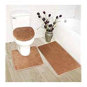 Mk Home 3pc Absorbent Bath Mat Set Solid Taupe with Bath Rug, Contour Mat and Toilet Seat Lid Cover Non-Slip Rubber Blacking New
