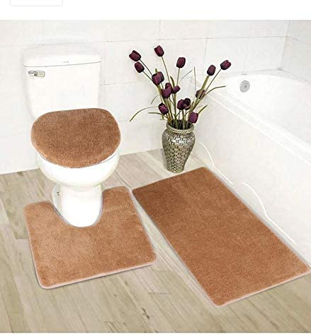 3 Piece Bath Rug Set Beige Bathroom Mat Contour Rug Lid Cover NonSlip