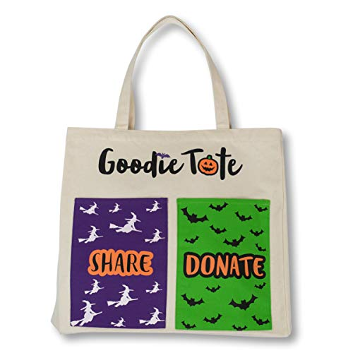 The Halloween Goodie Tote –2 SIDED cotton canvas bag - 4 large outer pockets for Halloween candy -