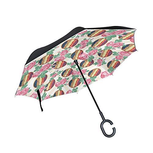 (Double Layer Acai Bowl Love Inverted Umbrellas- Windproof Reverse Folding Umbrella for Car, C-Shaped Handle Umbrella)