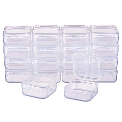 BENECREAT 18 Pack Square Clear Plastic Bead Storage Containers Box Drawer Organizers with Lid for Earplugs Pills Tiny Bead Jewelry Findings - 1.45x1.45x0.7 Inches