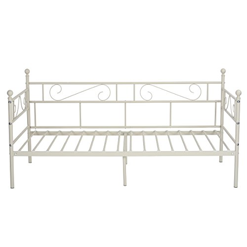 GreenForest Daybed Twin Bed Frame with Headboard and Stable Steel Slats Mattress Platform Base Boxspring Replacement Easy Assembly for Living Room Guest Room(Light Beige White) (Living In Bed Twin Room)