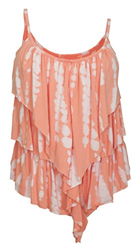 EVogues Plus Size Designer Print Tiered Ruffle Tank Top Coral - 1X