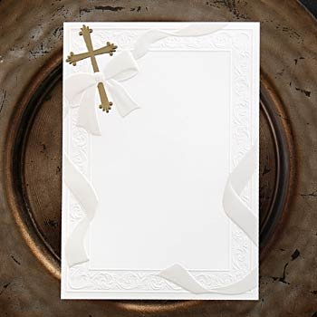 white blank printable flat card gold christian cross invitation