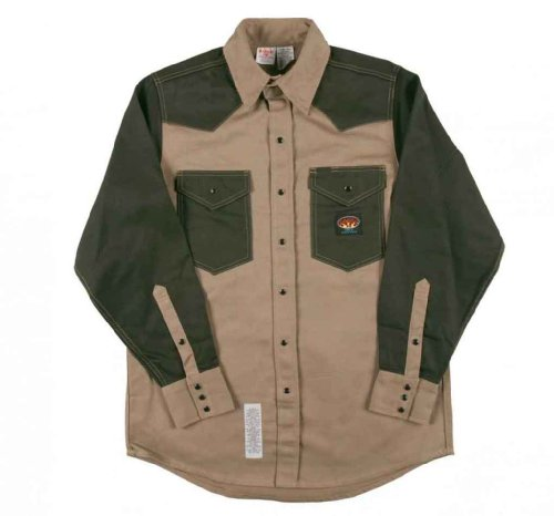 2 Tone Western Shirt (Men's Rasco 10-oz. Fire Retardant Two Tone Long Sleeve Western Shirt, KHAKI/GRN, 3XL)