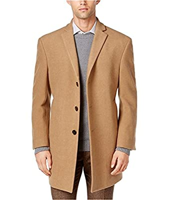 Calvin Klein Men's Prosper Solid Single Breasted Wool Blended Overcoat Extreme Fit