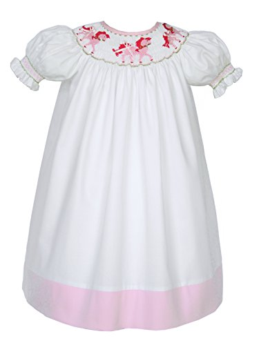 Carouselwear White Hand Smocked Pink Horses Girls Bishop Dress