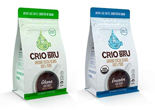 Crio Bru 2 Pack 10 oz Light Roast Bundle | Organic Healthy Brewed Cacao Drink | Great Substitute to Herbal Tea and Coffee | 99% Caffeine Free Gluten Free Keto Whole-30 Honest Energy (10oz (2 Pack))