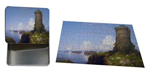 Italian Coast Scene Ruined Tower (T Cole) Metal Trinket Box (4