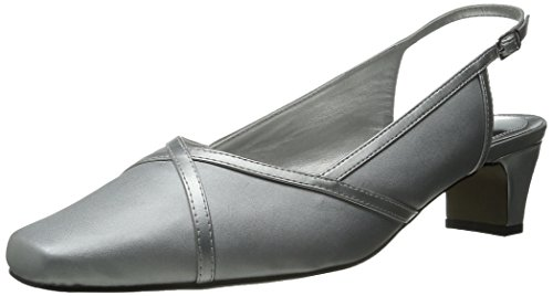 Easy Street Women's Taylor Dress Pump, Silver Satin/Silver/Easy Flex Dance Sole, 5.5 M US