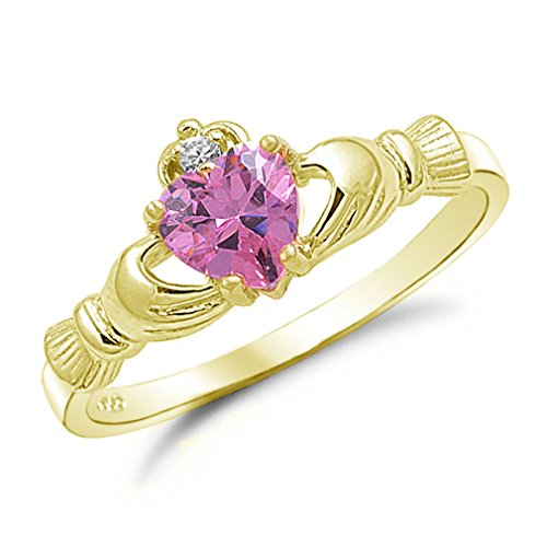 (Gold Tone Sterling Silver Simulated Pink Sapphire Claddagh Ring Size 12)
