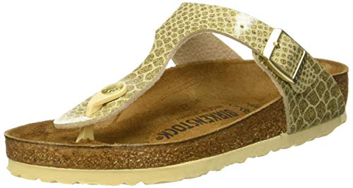 (Birkenstock Unisex Gizeh Birko-Flor Magic Snake Gold Sandals 9 W / 7 M US)