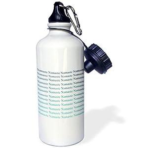 Sports Water Bottle Gift, Teal Aqua Ombre Namaste Brown White Stainless Steel Water Bottle for Women Men 21oz