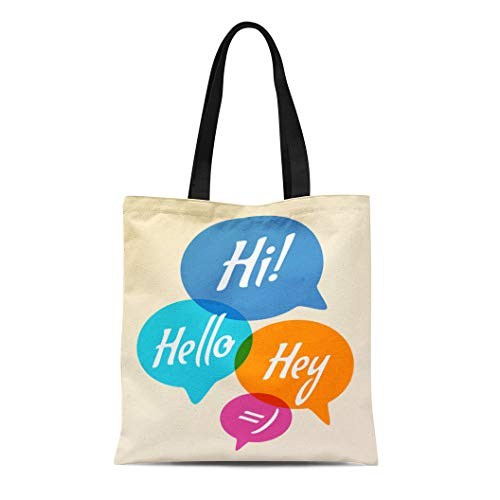 12467daad Semtomn Canvas Tote Bag Shoulder Bags Blue Talk Speech Bubble Text Hi Hello  Hey Colorful Women's