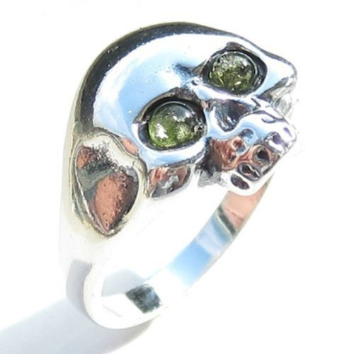 Green Amber and Sterling Silver Jolly Roger Ring, Size -