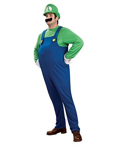 [Super Mario Brothers Deluxe Luigi Costume, Blue/Green, Small] (Daisy And Luigi Halloween Costumes)