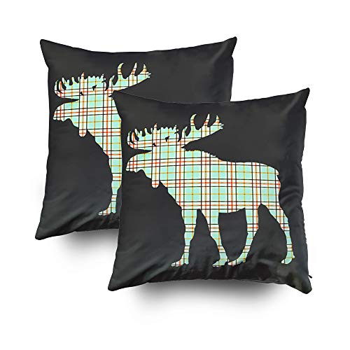 Musesh Christmas Pack of 2 Mint Grey Moose Cushions Case Throw Pillow Cover for Sofa Home Decorative Pillowslip Gift Ideas Household Pillowcase Zippered Pillow Covers 16x16Inch