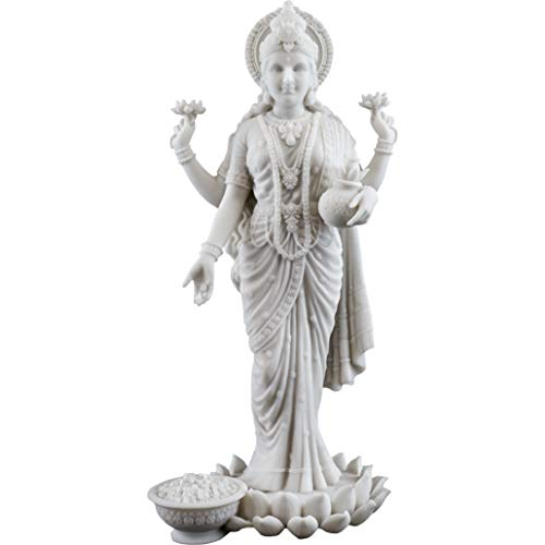 - Top Collection Lakshmi Statue- Hindu Goddess of Wealth, Prosperity, Wisdom and Fortune Sculpture in Premium White Marble Finish- 10.25-Inch Collectible Figurine