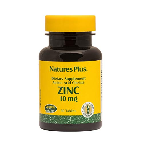 Natures Plus Zinc Tablets - 10 mg, 90 Vegetarian Supplements - Natural Heart Health and Immune Support Supplement, Antioxidant, Memory Enhancer - Gluten Free - 90 Servings