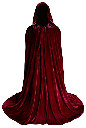 Newdeve Medieval Velvet Cloak Full Length With Hood Cosplay Costume Cape For ()