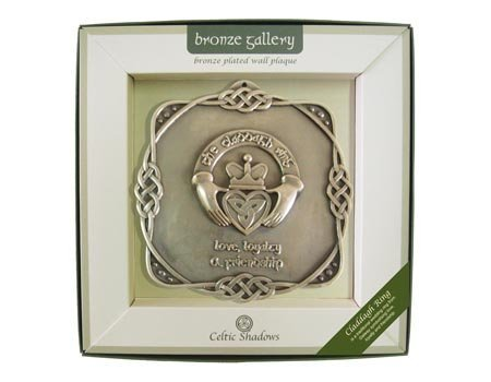 Bronze Plated Wall Plaque With Claddagh Ring - Plaque Collectible Wall