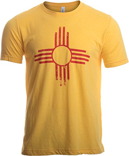Vintage New Mexico Flag | Zia Sun New Mexican State Pride Men Women T-Shirt-(Adult,M)
