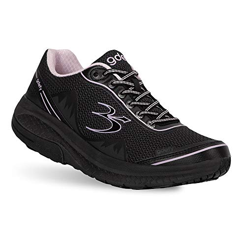 Gravity Defyer Pain Relief Women's G-Defy Mighty Walk Athletic Shoes 8.5 W US- Diabetic Shoes for Plantar Fasciitis - Black, Purple (Best Shoes For Diabetics)