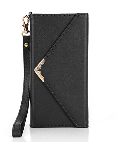 Crosspace iPhone X Case, iPhone Xs Wallet Case, Envelope Flip Handbag Shell Women Wallet PU Leather Slim Holster Magnetic Folio Cover with Card Holder Wrist Strap for iPhone Xs 5.8-Black