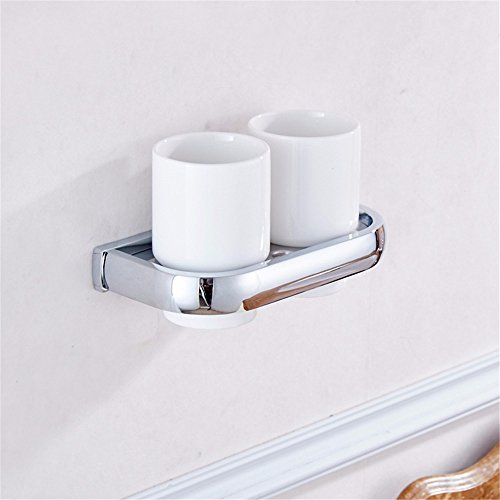 AiRobin-Contemporary Brass Chrome Plated Wall Mounted Toothbrush Cup Holder Bathroom Accessory