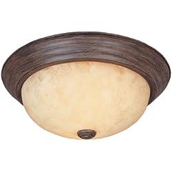 "1257S-WM-AM Flushmount Ceiling Light Warm Mahogany 2-Light 11"" Fixture"
