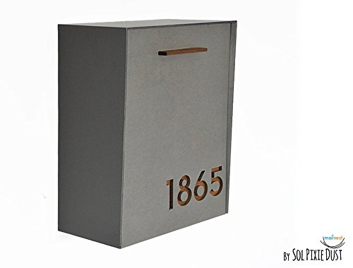 Modern Mailbox with Concrete Face, Aluminum Body and Dark Oak Wood Vanish, Custom Modern Mailbox, Wall Mounted Mailbox, Mailnest Type 2 by Sol Pixie Dust