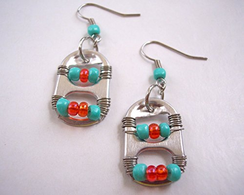 - Pop Tab Earrings Aqua Orange and Silver