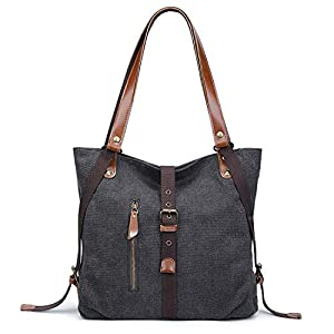 S-ZONE Women Canvas Shoulder Bag Casual Fashion Backpack Large Convertible Handbag Fit 13.3-inch Laptop