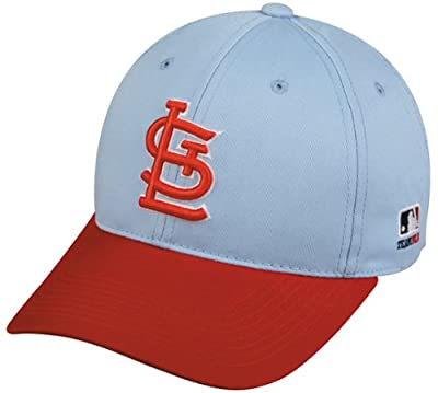 MLB Cooperstown ADULT St Louis CARDINALS Light Blue/Red Hat Cap Adjustable Velcro TWILL Throwback