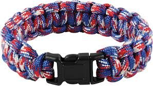 """UPC 639266780908, Red White and Blue Camo Paracord Survival Bracelet By Bostonred2010 (8"""")"""