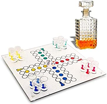 Juego de juego de parchís para beber 1 estante de cristal, vasos tirad: Amazon.es: Juguetes y juegos