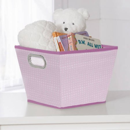 Delta Children Squared Tapered Tote Organizer Storage with Handles, Barely Pink (Stages Lx)