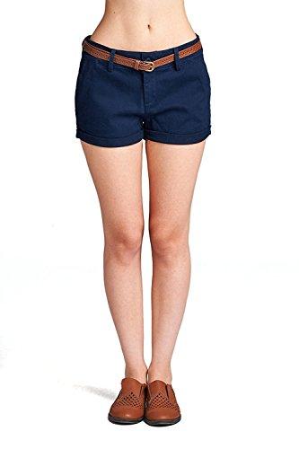 Emmalise Women's Casual Comfortable Fashion Summer Shorts w Back Pockets - Flat Front Navy, - Womens Shorts Comfortable