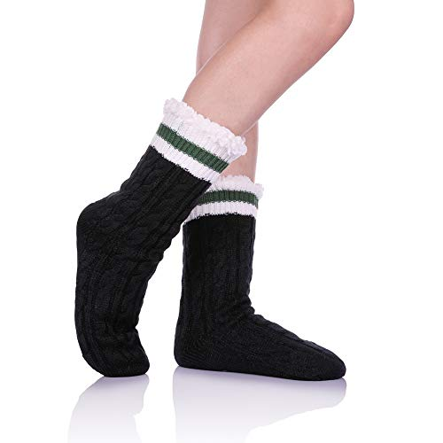 LINEMIN Women Stripe Slipper Sock Super Soft Sherpa Lined Non skid Fuzzy Cozy Winter Socks (Black)