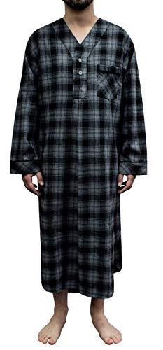 Stafford - Men's Flannel Nightshirt (Large, Black Grey Plaid)
