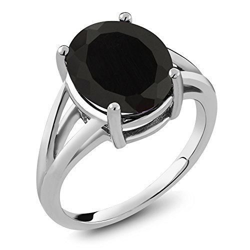 Sophisticated Lady Collection (925 Sterling Silver Black Onyx Women's Ring (4.00 Ctw Oval Available in size 5, 6, 7, 8, 9))