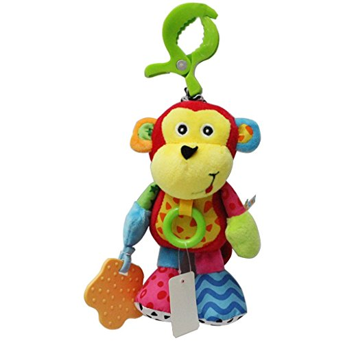 Baby Plush Rattles Infant Soft Appease Toys Developmental Interactive Toy Infant Baby Music Monkey Animal Handbells Handle Teether Toys For Crib, High Chair And Interactive Playing,0-1Years