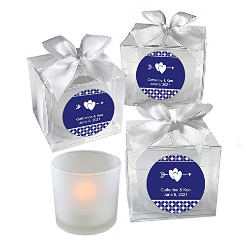 (All Things Weddings, PERSONALIZED Votive Tealight Candle and Holder, Double Interlocking Hearts with Bow Design, Party Favors, Weddings, Bridal Party, Quinceanera, Set of 24, Blue)